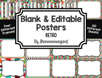 Blank Page or Poster Templates (11x8.5) - Retro
