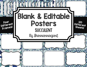Blank Page or Poster Templates (11x8.5) - Succulent