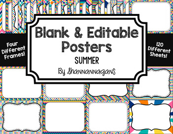 Blank Page or Poster Templates (11x8.5) - Summer