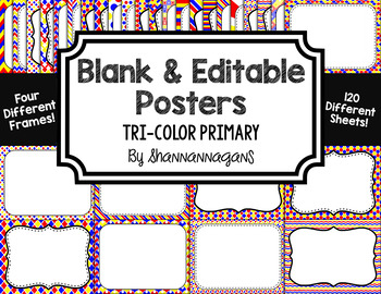 Blank Page or Poster Templates (11x8.5) - Tri-Color Primary