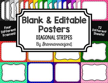 Blank Page or Poster Templates (11x8.5) - Basics: Diagonal Stripes