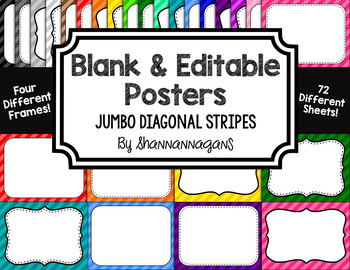 Blank Page or Poster Templates (11x8.5) - Basics: Jumbo Diagonal Stripes