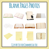 Blank Pages Photos of Books and Paper Clip Art Set for Commercial Use