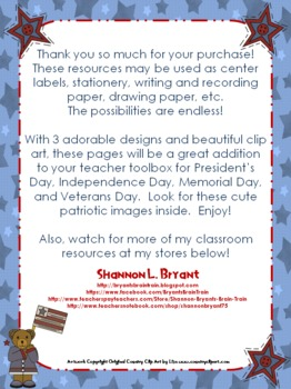 Blank Patriotic Labels, Pages, Stationery, and Center Signs