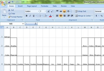 Blank Periodic Table EXCEL File