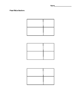 Blank Place Value Sections