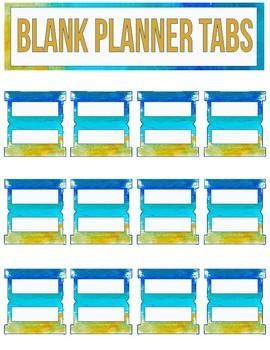 Blank Planner Tabs