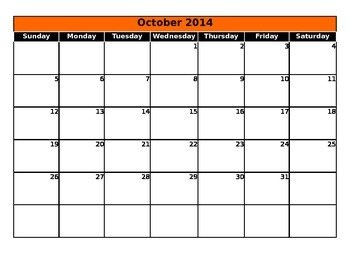 Blank Planning Calendar 2015-2016