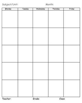 Blank Planning Calendar - Vertical