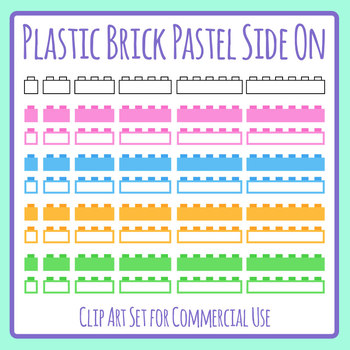 Blank Plastic Bricks (Like Lego) Templates Clip Art Set for Commercial Use