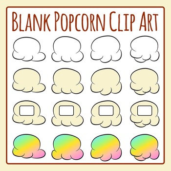 Blank Popcorn for Popcorn Words Clip Art Set for Commercial Use