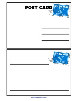 Blank Post Cards Templates - social studies and writing activity