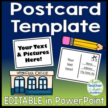blank postcard template fully editable front back tpt