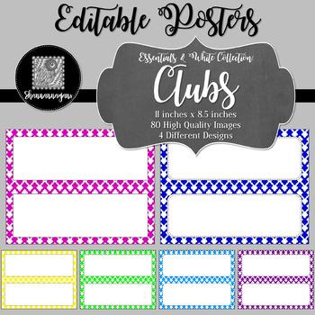 Blank Poster Templates - 11x4.25 Basics: Clubs & White