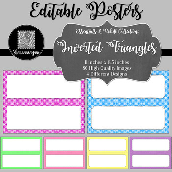 Blank Poster Templates - 11x4.25 Basics: Inverted Triangles & White