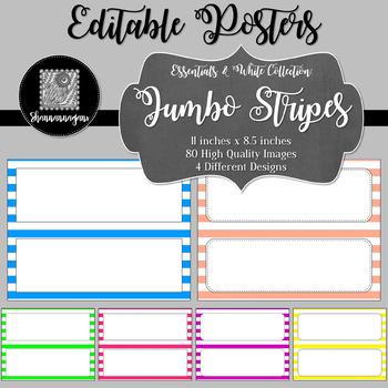 Blank Poster Templates - 11x4.25 Basics: Jumbo Stripes & White