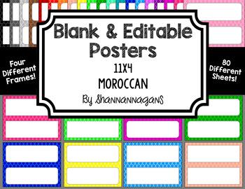 Blank Poster Templates - 11x4.25 Basics: Moroccan