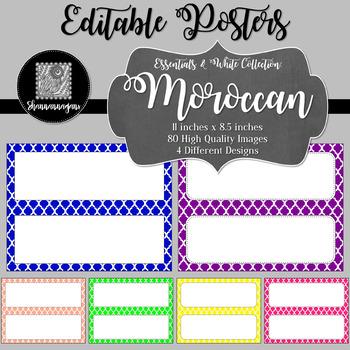 Blank Poster Templates - 11x4.25 Basics: Moroccan & White