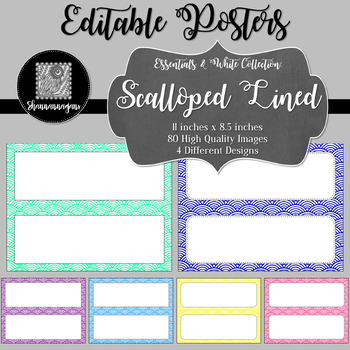 Blank Poster Templates - 11x4.25 Basics: Scalloped Lined & White