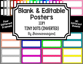 Blank Poster Templates - 11x4.25 Basics: Tiny Dots (Inverted)