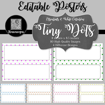 Blank Poster Templates - 11x4.25 Basics: Tiny Dots & White