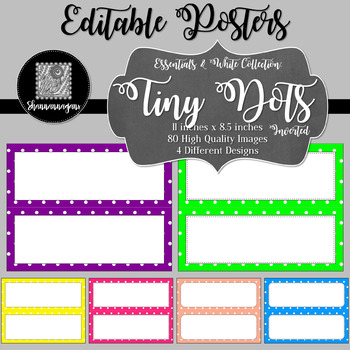 Blank Poster Templates (11x4.25) Essentials & White: Tiny Dots (Inverted)