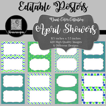Blank Poster Templates (5.5x8.5) Dual-Color Collection: April Showers