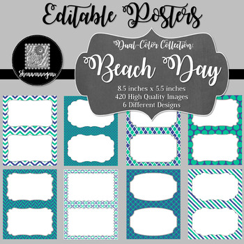 Blank Poster Templates (5.5x8.5) Dual-Color Collection: Beach Day