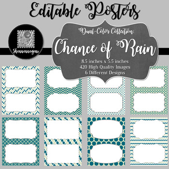 Blank Poster Templates (5.5x8.5) Dual-Color Collection: Chance of Rain