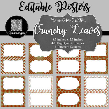 Blank Poster Templates (5.5x8.5) Dual-Color Collection: Crunchy Leaves