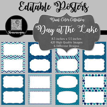 Blank Poster Templates (5.5x8.5) Dual-Color Collection: Day at the Lake