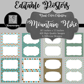 Blank Poster Templates (5.5x8.5) Dual-Color Collection: Mountain Hike