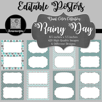 Blank Poster Templates (5.5x8.5) Dual-Color Collection: Rainy Day