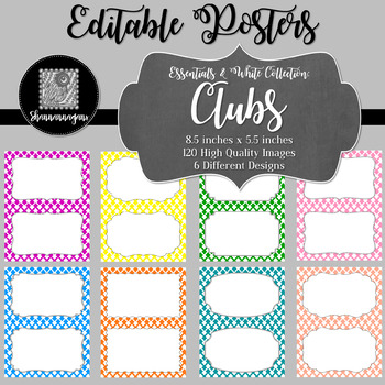 Blank Poster Templates (5.5x8.5) Essentials & White: Clubs