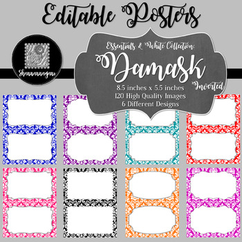 Blank Poster Templates (5.5x8.5) Essentials & White: Damask (Inverted)
