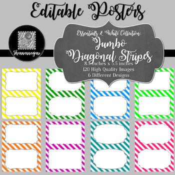 Blank Poster Templates (5.5x8.5) Essentials & White: Jumbo Diagonal Stripes
