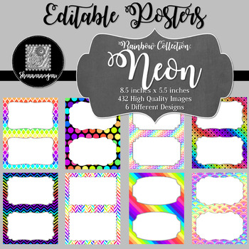 Blank Poster Templates (5.5x8.5) Rainbow Collection: Neon