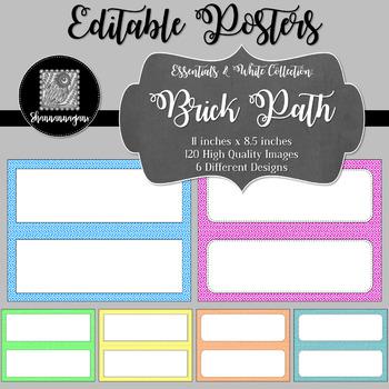 Blank Poster Templates (11x4.25) Essentials & White: Brick Path