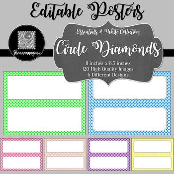 Blank Poster Templates (11x4.25) Essentials & White: Circle Diamonds