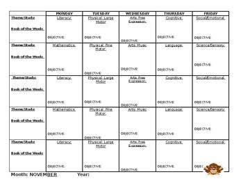 Blank Preschool Yearly Calendar (Sept-May)