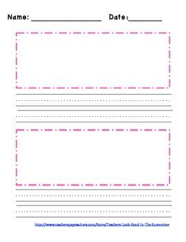 Blank Primary Writing Paper - 2 picture boxes!