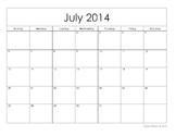 Blank Printable 2014-2015 School Calendar