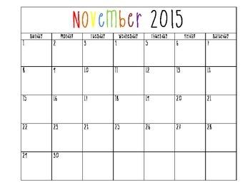 Blank, Printable Calendars 2015-2016 School year