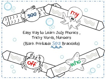 Blank Printable ~SEA~ Bracelets to Learn Jolly Phonics, Tricky Words, Numbers