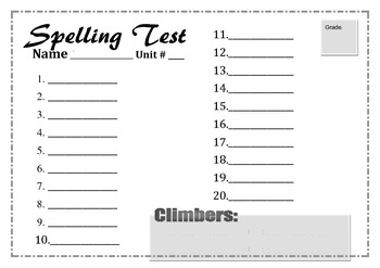 Blank Printable Spelling Test Form