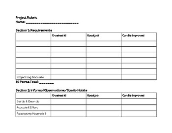 Blank Project Rubric