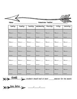 Blank Reading Log Arrow Theme