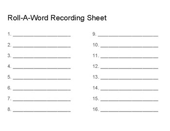 Blank Roll-A-Word template
