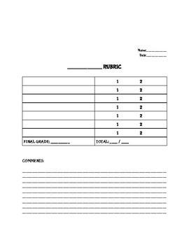 Blank Rubric Template Editable in Google Docs