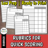 Blank Rubric for Quick Project Scoring